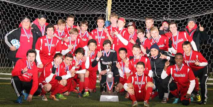 Hinsdale Central championship boys soccer team 2015