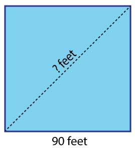 square with side 90 feet and unknown diagonal