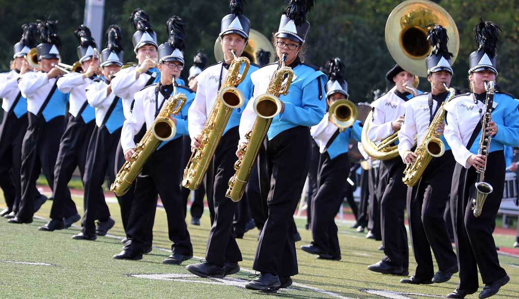 Maine West High School marching band September 2016